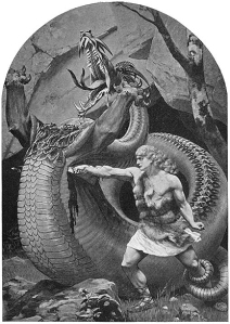 Siegfried Sigurd slays Fafnir